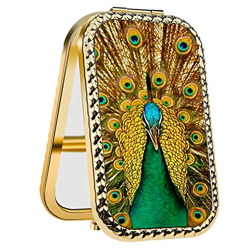 LINPO Compact Mirror, Travel Purse Mirror Compact Double Sides 2X & 1x Magnification Hand Mirror Metal with Peacock Design, Travel Makeup Mirror for Women and Girls as a Gift