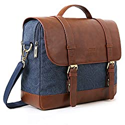 50%OFF ECOSUSI Messenger Bag Vintage Briefcases for Men Waxed Canvas Computer Bags for Laptops 15.6 inch Water-resistant