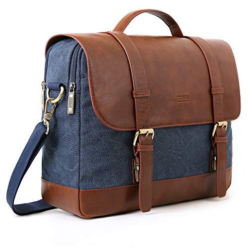 ECOSUSI Aktentasche Damen Umhängetasche Herren Laptoptasche 15,6 Zoll Canvas Tasche Vintage Damen Schultasche Lehrertasche Blau