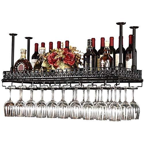 BFDMY Manteles De Vino con Soporte De Copa De Vino Estante De Botella, Soporte De Vino De Pared Estante Techo Colgante De Cocina Madera Metal Colgante Estante Tallador De Taller Negro,Negro,80×35CM