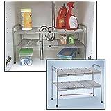 ATB 2 Tier Expandable Adjustable Under Sink Shelf Storage Shelves...