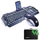 LexonElec Juego de ratón para videojuegos con teclado blanco con cable y retroiluminado con 104 teclas ergonómicas USB Multimedia Gamer Teclado Metal Impermeable + 2400DPI Óptico 6 Botones de ratones