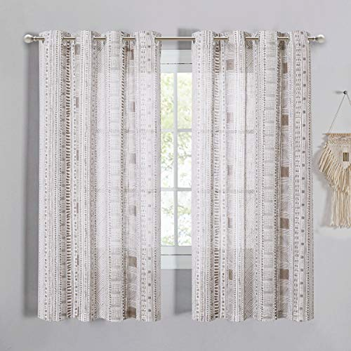StangH Semi Sheer Curtains with Boho Style, Linen Texture 63 inch Length Privacy Translucent Light Filtering Voile Sheer Drapes for Farmhouse/Bedroom, Taupe, W50 x L63, 2 Panels