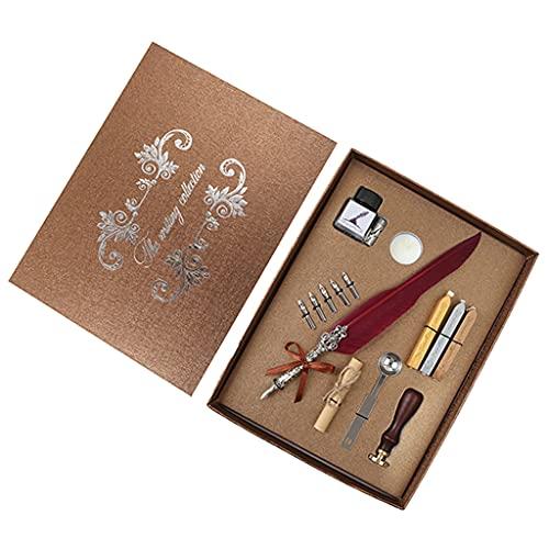 VEILTRON Juego de bolígrafos de Plumas Antiguos, bolígrafo de Escritura Retro, Exquisito diseño de patrón de Relieve Adornado, Kit de Sellos de Cera Retro para Estudiantes