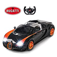 RASTAR ブガッティ 玩具の自動車、1/14ブガッティRCモデルカー、ブガッティ・ヴェイロン16.4リモートコントロールカー、ブラック&オレンジ