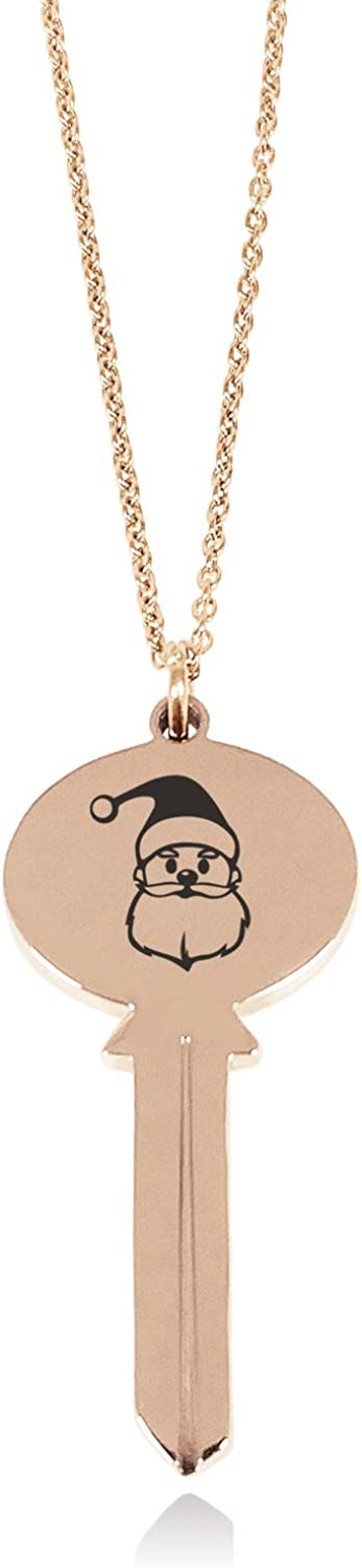 Tioneer Stainless Steel Cute Santa Claus Oval Head Key Charm Pendant Necklace