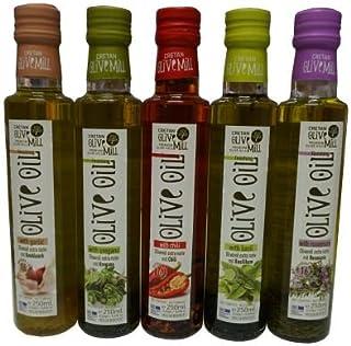 5x 250ml Flavour Olivenöl im Probier Geschenk Set Oliven Öl versetzt mit Rosmarin Chili Basilikum Oregano Knoblauch aus Griechenland  2x 10ml Sachet Olivenöl extra nativ aus Kreta zum testen