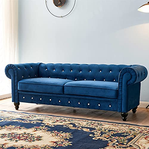Velvet sectional couches for Living Room, Crystal Button Tufted Chesterfield Sofa, Solid Wood Frame, Metal Legs, Easy Assembly, Mid-Century Modern Design, Blue Couch