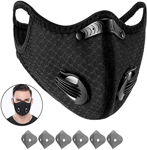 Enjoyee Staubdichte Sportmaske – Aktivkohle Anti-Umweltverschmutzung Maske mit extra Baumwolltuch und Ventilen Set | Workout | Motorrad | Radfahren(1 Schwarze Maske + 6 Filter)