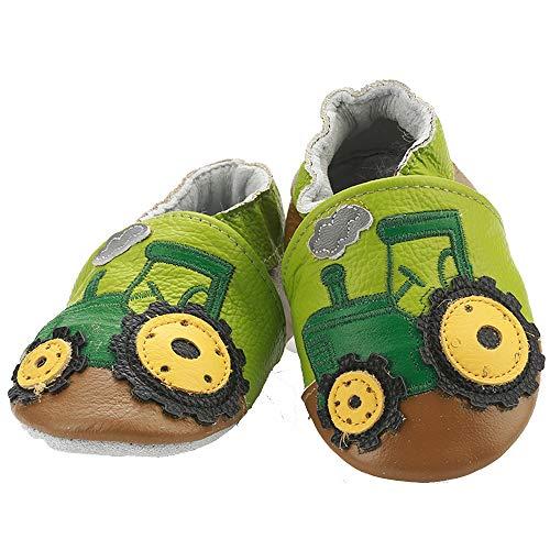 Chaussures Enfant Bébé en Cuir Souple Premiers Pas Souple Bébé Fille Chaussures Bébé Garçon,6-12 mois,Tracteur