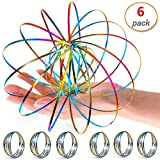 6 Pack Flow Ring Arm Magic Spring Arm Flow Rings Sculpture Ring Colored Magic Kinetic Spring Interactive Stress Relief Rings Festival Accessories