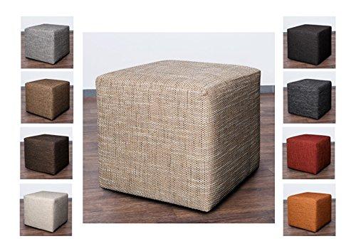 Möbelbär 8009 Sitzwürfel Hocker Cube mit Kunststoffgleiter Fuß 45 x 45 x 45 cm, bezogen mit robustem hochwertigem Magma Struktur Webstoff (Cappucino)