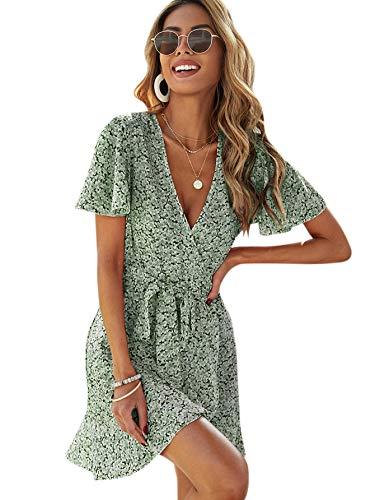 SheIn Women's Deep V-Neck Short Sleeve Tie Front Floral Print Ruffle Hem Dress Light Green Small