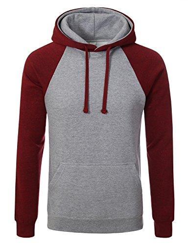 JD Apaprel Premium Heavyweight Two-Tone Raglan Sleeve Pullover Hoodie M H grey red