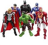 Superhero Action Figures Set of 6 PCS | Action Figure Set | Includes Batman, Hulk, Superman, Thor, Ironman & Captain Americ (2)