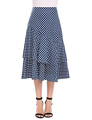 Zeagoo Women's High Waist Polka Dot A-line Ruffle Midi Skirt with Decor Belt