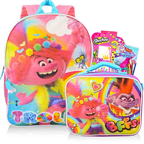 Trolls World Tour Backpack and Lunch Bag 5 Pc Set for Girls Kids ~ 16' Trolls Backpack, Lunch Bag, Door Hanger, Stickers and More (Trolls School Supplies Bundle)