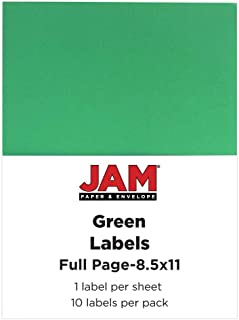 JAM PAPER Shipping Labels - Full Page Sticker Paper - 8 1/2 x 11 - Green - 10 Full Sheets/Pack