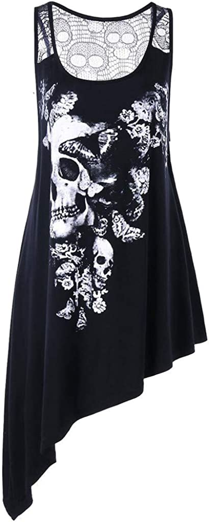 OVINEE Fashion Blouse for Women Plus Size U Neck Skull Printed Asymmetric Hollow Out Tank Top Vest