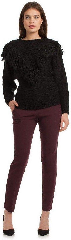 Trina Turk, Lilee Long Sleeve Fringe Sweater, Black