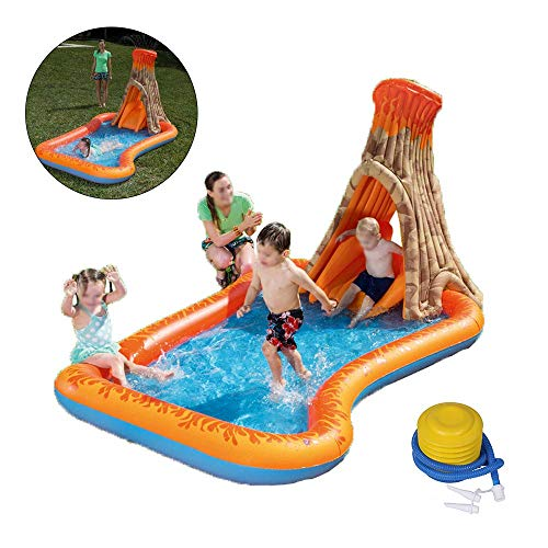 Hezun Inflatable Summer Outdoor Paddling Pool Baby Paddling Pools with Water Spray and Slide, Water Toys for Toddlers/Kids