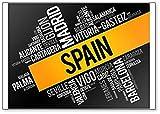 Imán para nevera, diseño de la lista de ciudades en España