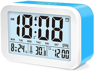Smart LED reloj despertador, despertador digital, 3 modos de alarma y 7 alarmas,