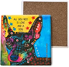 SJT ENTERPRISES, INC. Miniature Pinscher - All You Need is Love and a Dog Absorbent Stone Coasters, 4-inch (4-Pack) Features The Artwork of Dean Russo (SJT07027)