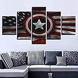 WKXZZS Cuadro en Lienzo 200x100cm Impresión de 5 Piezas Comics Capta America Comic Flag Material Tejido no Tejido Impresión Artística Imagen Gráfica Decoracion de Pared