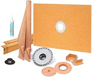 Schluter Kerdi 48 Inch x 72 Inch Shower Kit with 2 Inch PVC Flange and Joint Sealant