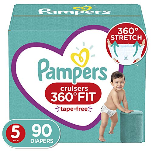 Diapers Size 5 90 Count  Pampers Cruisers 360° Fit Disposable Baby Diapers Enormous Pack Packaging May Vary