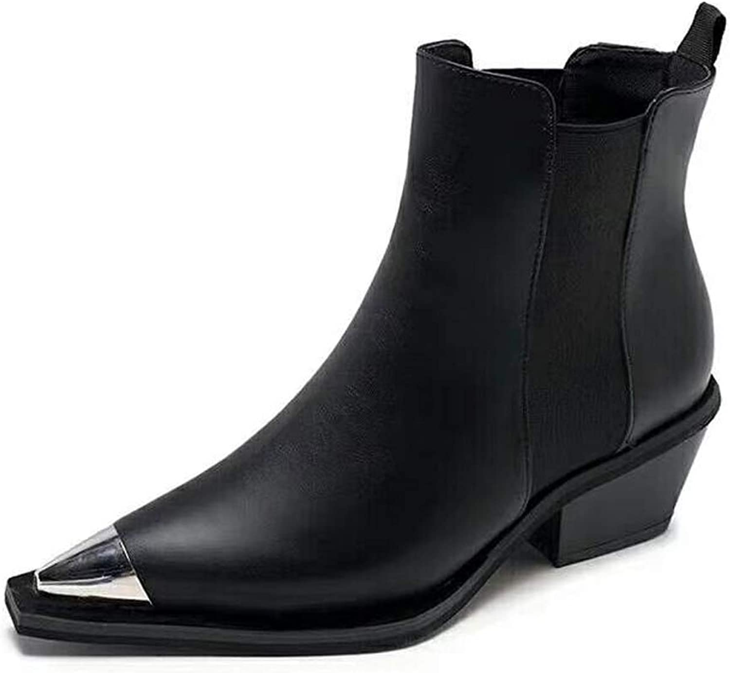 ZBW Women's Pointed Toe Chelsea Boots Thick Heel Bare Boots Black