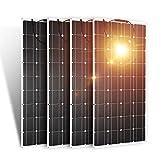 Dokio Juego de 4 piezas de panel solar de 100 W 12 V 24 V monocristalino flexible impermeable ligero panel solar flexible para furgoneta, autocaravana, caravana, barco, cabina, caravana, coche