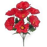 A1-Homes 2 x 38cm Artificial Silk Red Poppy bush - 8 large flower heads each - Home/cottage GArden Grave