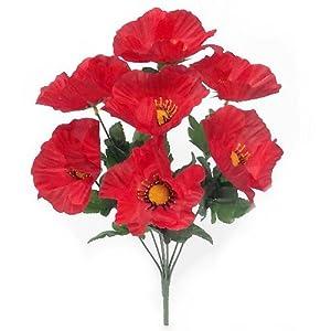 A1-Homes – Arbusto de amapola de seda artificial (2 x 38 cm, 8 cabezas de flores grandes cada uno)