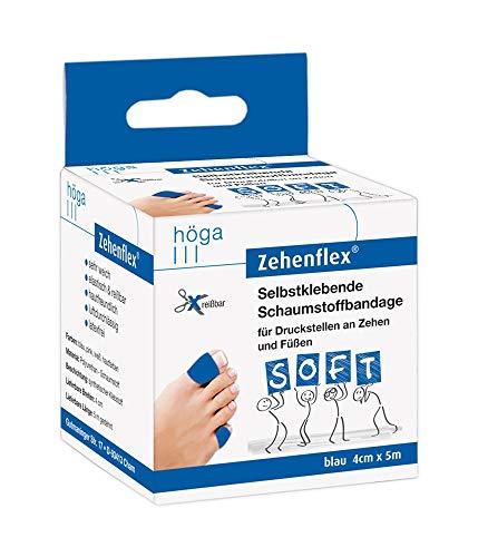 Zehenflex Blau 4cm X 5m Gedehnt. Selbstklebende Schaumstoffbandage, Soft Sehr Weich, Elastisch Und Reißbar, Hautfreundlich, Luftdurchlässig, Latexfrei