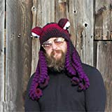 SANHAN Octopus Adult Tentacle Hat,Unisex Octopus Tentacle Hat,Hand-Woven Knitted Octopus Hat Christmas Halloween Costume Cosplay (Purple)