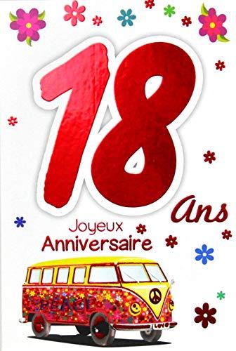 Afie 69-2119 Carte Joyeux Anniversaire 18 ans Fille Jeune Femme Adulte - Majorité Majeure Permis B Conduire Voiture Cadeaux Maquillage Papillons