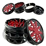 OKV Herb Grinder 2.5 inch 4 Piece Spice Crusher with Pollen Catcher (Red)