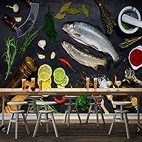 zhansheng 黒イカシーフードフード3D壁紙寿司レストランレストランバーリビングルームキッチンファストフードレストラン壁画壁紙