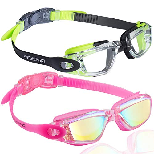 EverSport Swim Goggles, Pack of 2, Swimming Glasses for Adult Men Women Youth Kids Child, Anti-Fog, UV Protection, Green/Black & Colorful Mirrored Rose Red