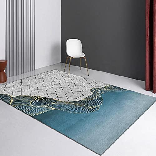 Alfombra Salón Pelo Corto Motivo Geométrico Varios Tamaños Y Colores,80x160cm