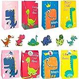 24 Pcs Sacchetto Regalo Dinosauro,Sacchetti Regalo di Carta,Sacchetti di Carta Dinosauro con 24 Adesivo Dinosaur,Sacchetto Candy,Sacchetto Regalo per Bambini Feste di Compleanno