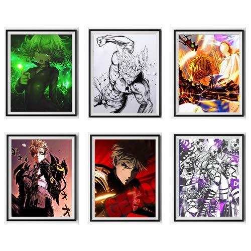 Manga Anime One Punch Man Genos Do's Saitama Tatsumaki Lienzo de tela para pared, póster para decoración de sala de estar, 8 x 10 pulgadas, sin marco, juego de 6