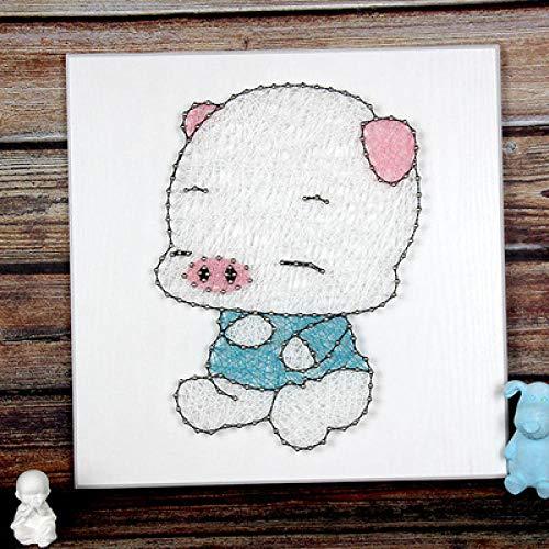 Schattig varken handgemaakte driedimensionale garen schilderij DIY string zijde schilderij huisdecoratie schilderij 30 * 30cm