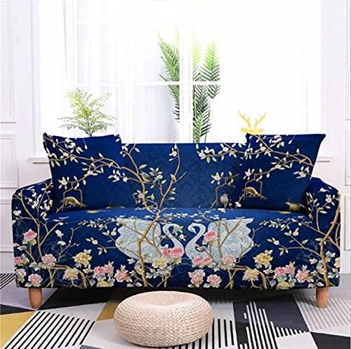 Fundas de sofá Estampadas Elástica,2 Plazas Antideslizante Ajustables Funda de Sofá,Universal Poliéster Protector Cubierta de Muebles,+2 Funda de Cojín,Cisne de Tema Azul