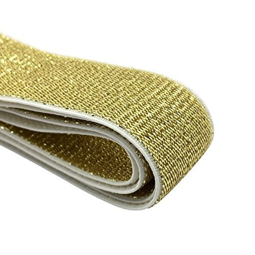 iCraft 1-inch Wide Soft Gold and Silver Glitter Elastic Bands by 3-Yard, Gold 52010