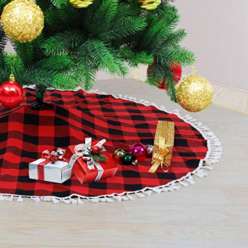Partisout Christmas Tree Skirt Plaid Tree Skirt CheckChristmasTreeSkirt CottonTreeSkirt with Tassel MerryChristmasTreeSkirt Xmas Tree Skirt Christmas (Black and Red, 48 inch)
