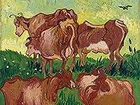 ゴッホの油絵アートプリントポスター Cows (after Jorsaens) - フィンセント ファン ゴッホ 世界の名画 高級ポスター 60cmx80cm アートプリントキャン バス 写真