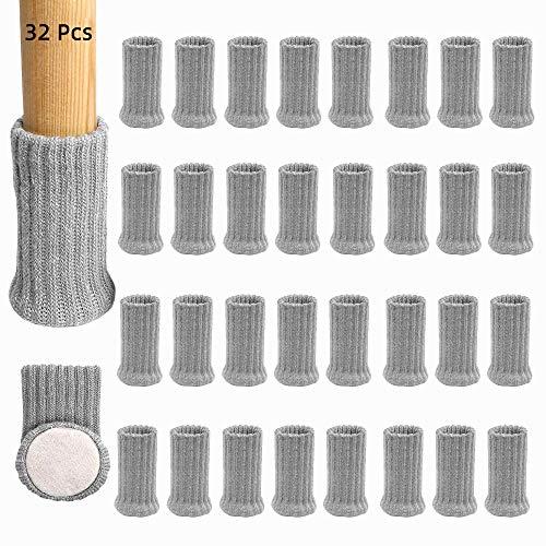 Merysan Stuhlbein-Socken mit Filzpolstern, hochelastisch, gestrickt, Möbelstiefel mit doppellagigem, rutschfestem Bodenschutz, verhindert Kratzer und reduziert Lärm, Grau